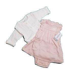 Carter's Dress and Cardigan Set Pink Striped 3m